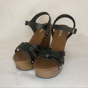 Soda Heel Wedges in Tan and Black, 7.5
